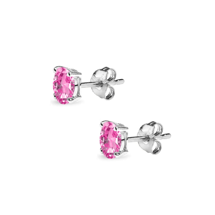 Sterling Silver Created Pink Sapphire 5x3mm Oval Solitaire Dainty Stud Earrings