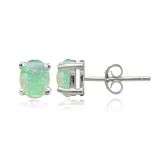Sterling Silver Created Green Opal 5x3 Oval Stud Earrings