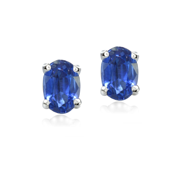 Sterling Silver Genuine Kyanite 5x3mm Oval Stud Earrings