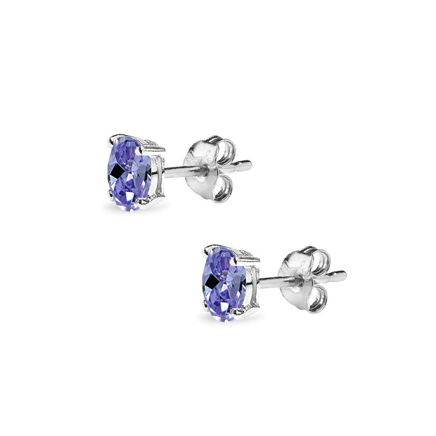 Sterling Silver Simulated Tanzanite 5x3mm Oval Solitaire Dainty Stud Earrings