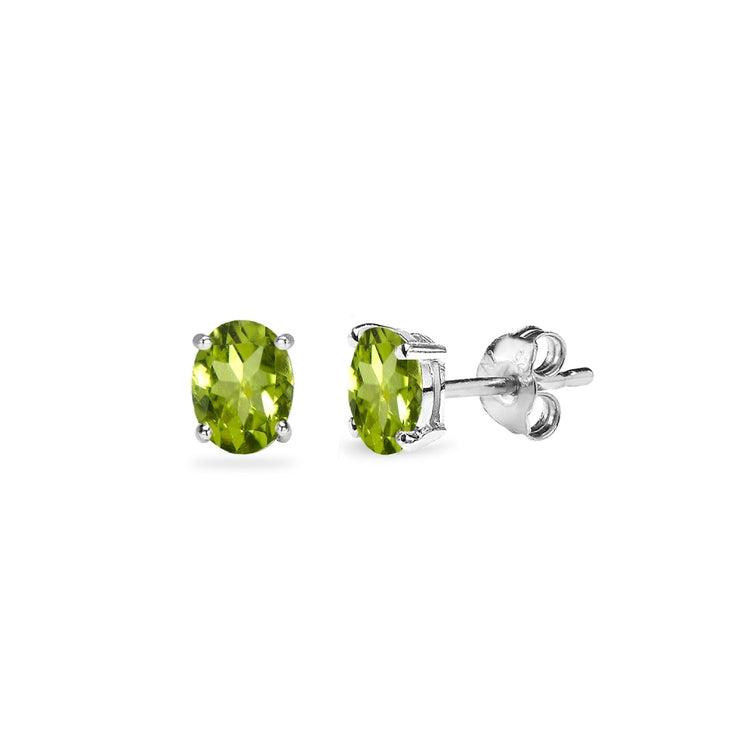 Sterling Silver Peridot 5x3mm Oval-Cut Solitaire Stud Earrings