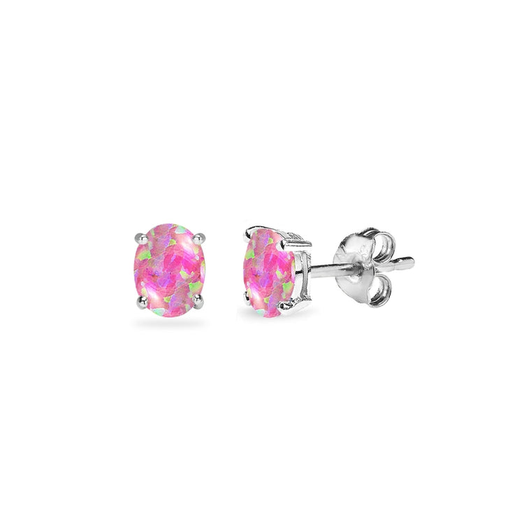 Sterling Silver Created Pink Opal 5x3mm Oval-Cut Solitaire Stud Earrings