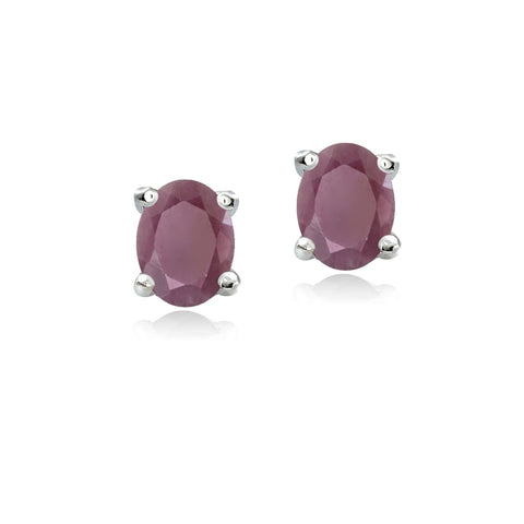 Sterling Silver Genuine Ruby 5x3 Oval Stud Earrings