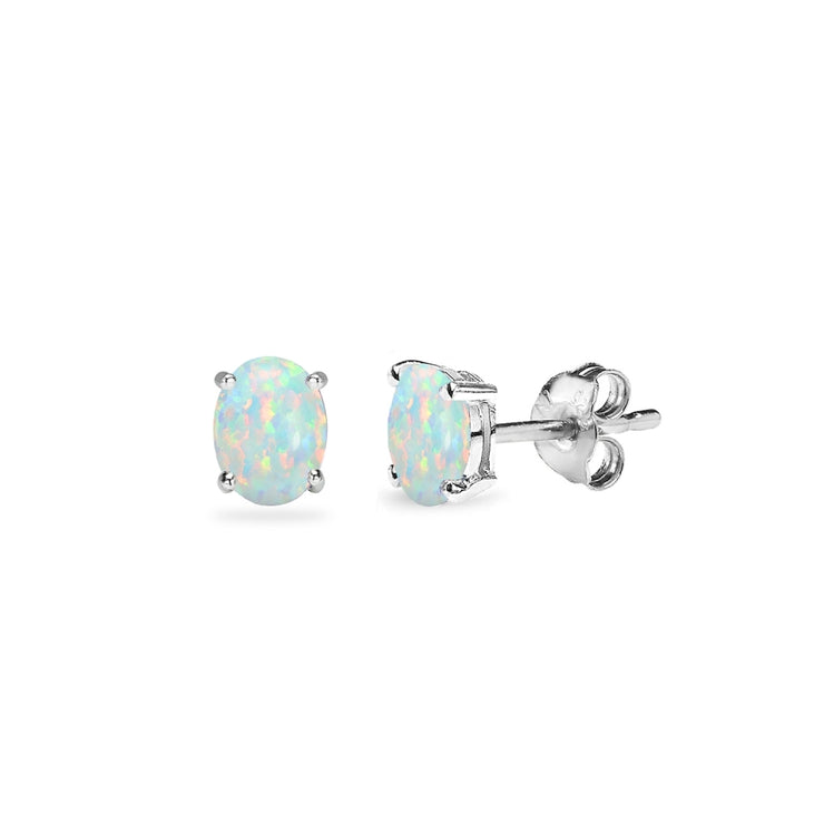 Sterling Silver Created White Opal 5x3mm Oval-Cut Solitaire Stud Earrings