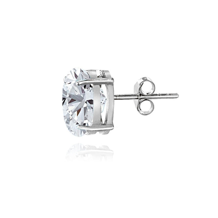 Sterling Silver White Sapphire 5x3mm Oval Stud Earrings