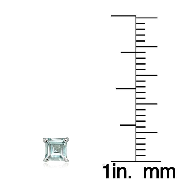 Sterling Silver Aquamarine 4mm Square Stud Earrings