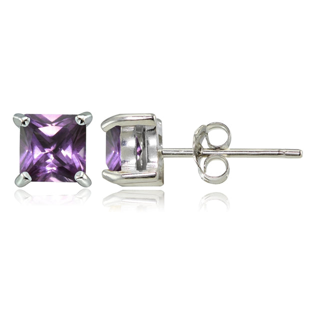 Sterling Silver Created Alexandrite 4mm Square Stud Earrings