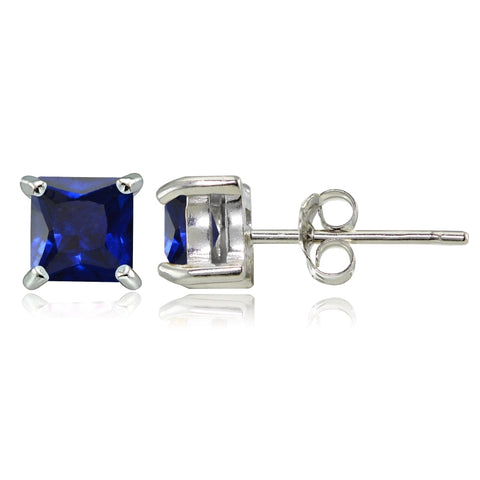 Sterling Silver Created Blue Sapphire 4mm Square Stud Earrings
