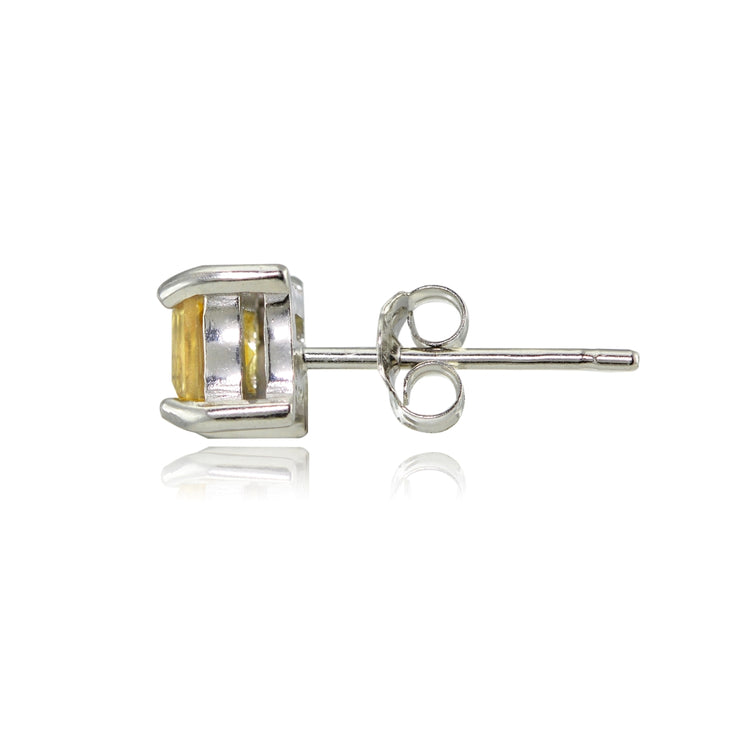 Sterling Silver Citrine 4mm Square Stud Earrings