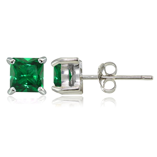 Sterling Silver Created Emerald 4mm Square Stud Earrings