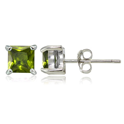 Sterling Silver Peridot 4mm Square Stud Earrings