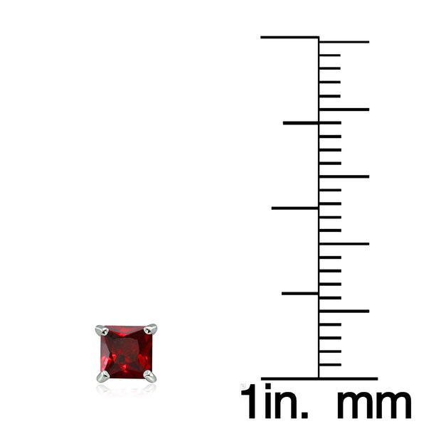 Sterling Silver Created Ruby 4mm Square Stud Earrings