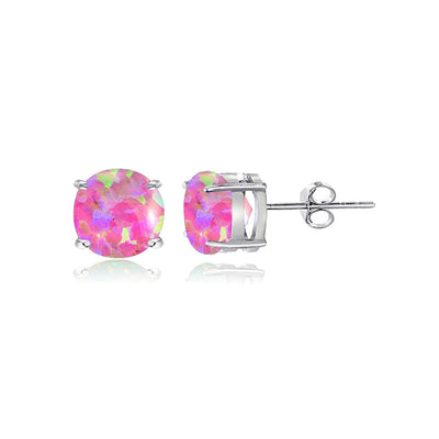 Sterling Silver Simulated Pink Opal 5mm Round-Cut Solitaire Stud Earrings