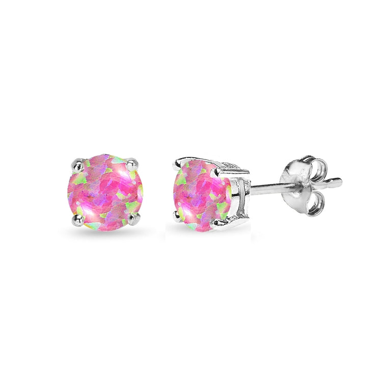 Sterling Silver Created Pink Opal 5mm Round-Cut Solitaire Stud Earrings