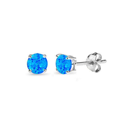 Sterling Silver Simulated Blue Opal 4mm Round-Cut Solitaire Stud Earrings
