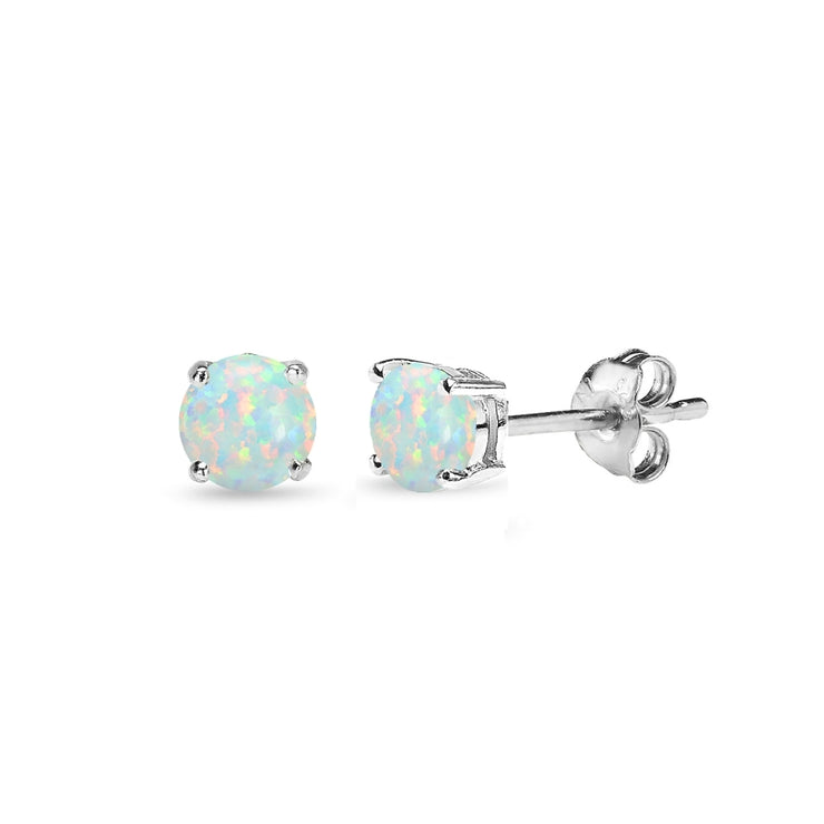 Sterling Silver Created White Opal 4mm Round-Cut Solitaire Stud Earrings
