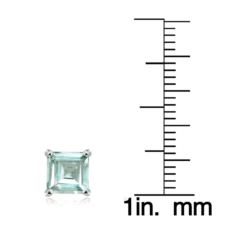 Sterling Silver Aquamarine 6mm Square Stud Earrings