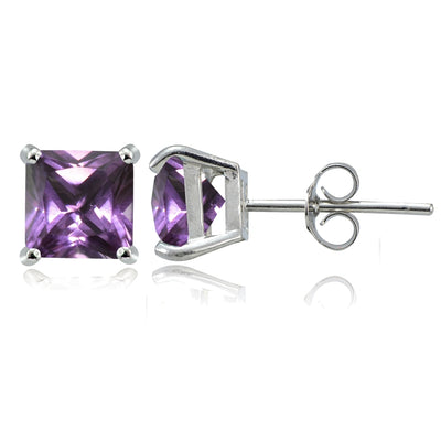 Sterling Silver Simulated Alexandrite 6mm Square Stud Earrings
