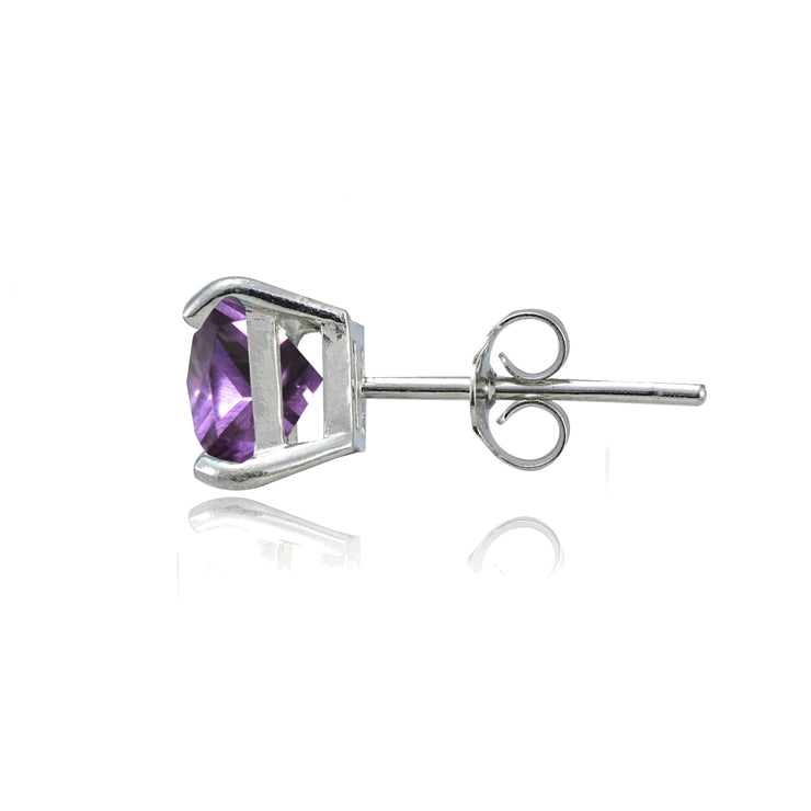 Sterling Silver Created Alexandrite 6mm Square Stud Earrings