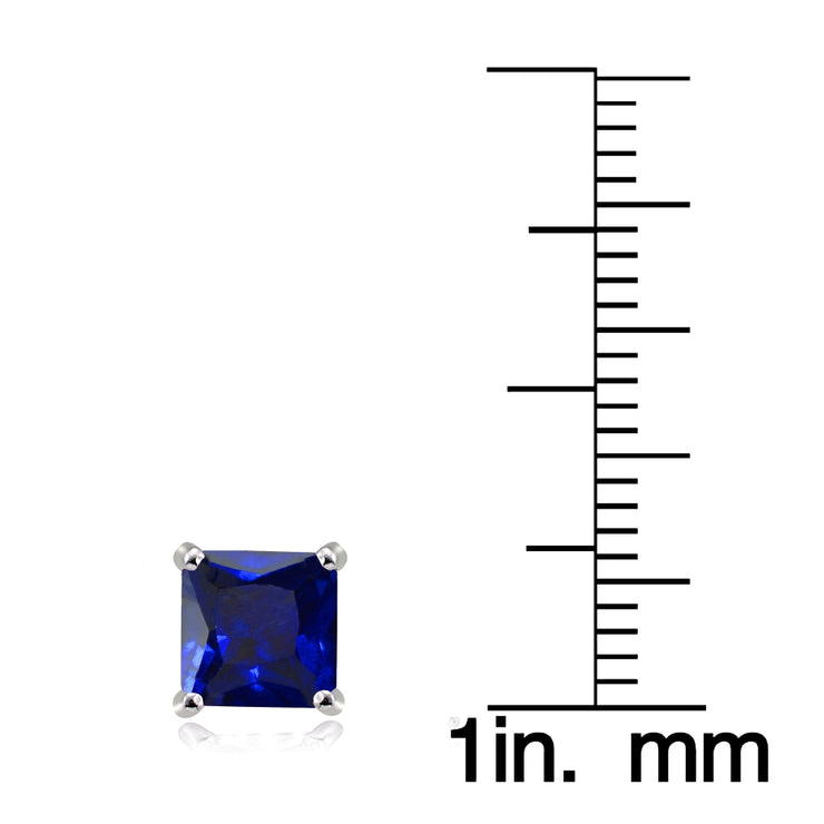 Sterling Silver Created Blue Sapphire 6mm Square Stud Earrings
