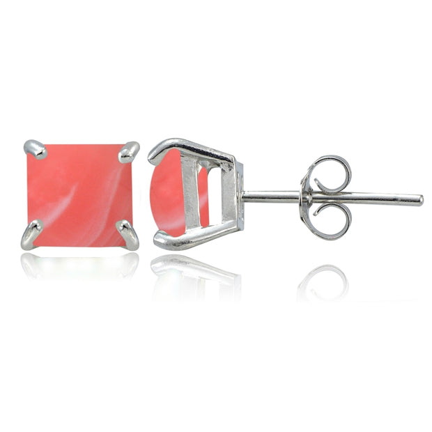 Sterling Silver Dyed Coral Square Stud Earrings