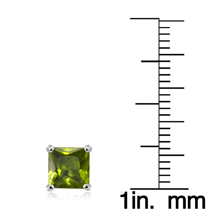 Sterling Silver Peridot 6mm Square Stud Earrings