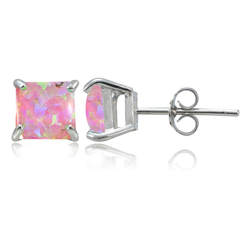 Sterling Silver Pink Opal Square Stud Earrings, 7mm