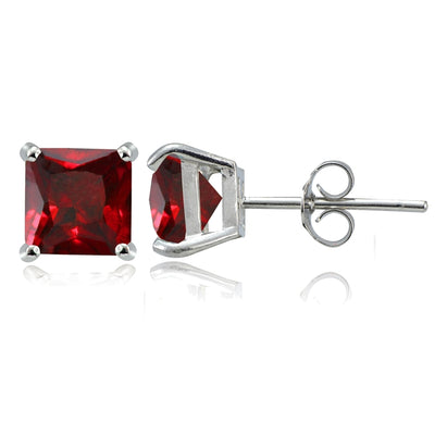 Sterling Silver Created Ruby 6mm Square Stud Earrings