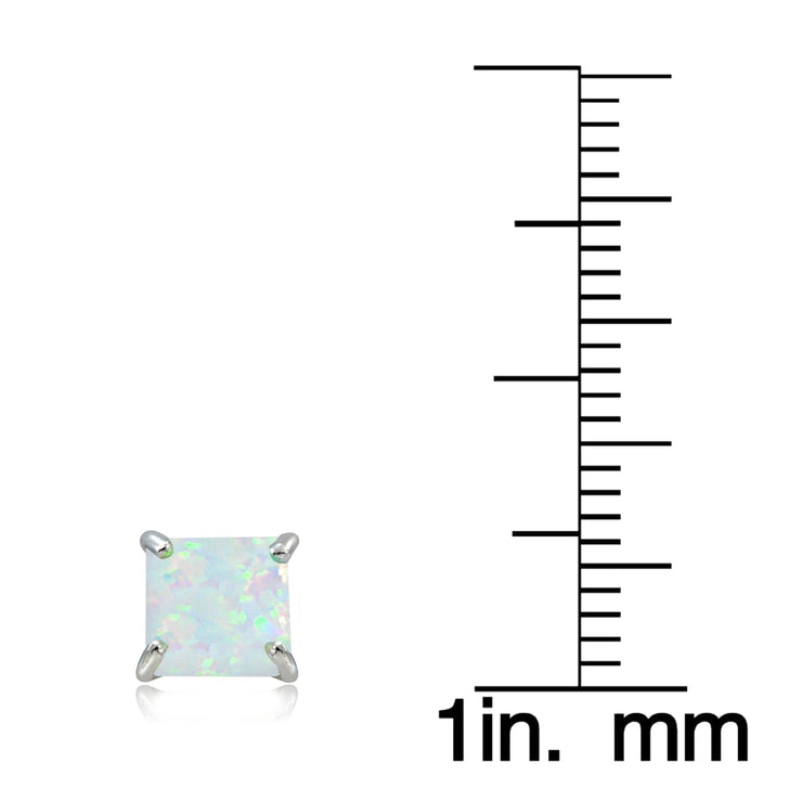 Sterling Silver Created White Opal 6mm Square Stud Earrings