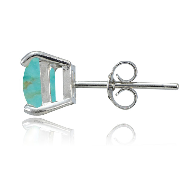Sterling Silver Simulated Turquoise Square Stud Earrings