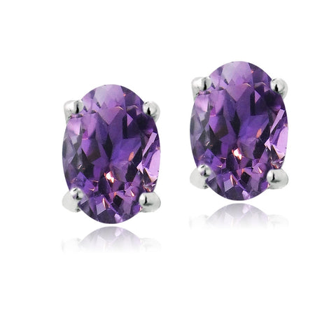 Sterling Silver 1ct African Amethyst 6x4 Oval Stud Earrings