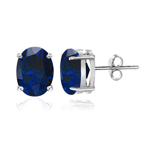 Sterling Silver Created Blue Sapphire 6x4mm Oval Stud Earrings