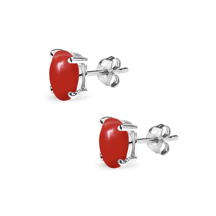 Sterling Silver Deep Coral 6x4mm Oval-Cut Solitaire Stud Earrings