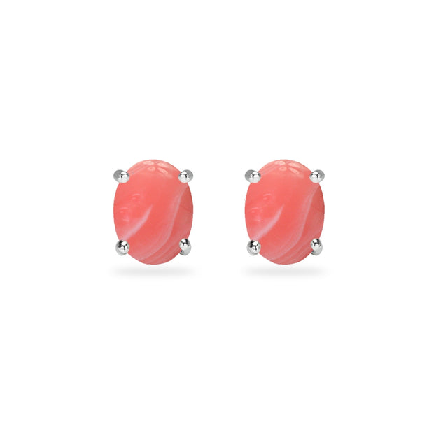 Sterling Silver Simulated Coral Oval 6x4mm Prong-set Stud Earrings