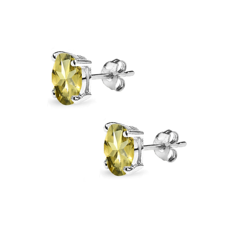 Sterling Silver Citrine 6x4mm Oval-Cut Solitaire Stud Earrings