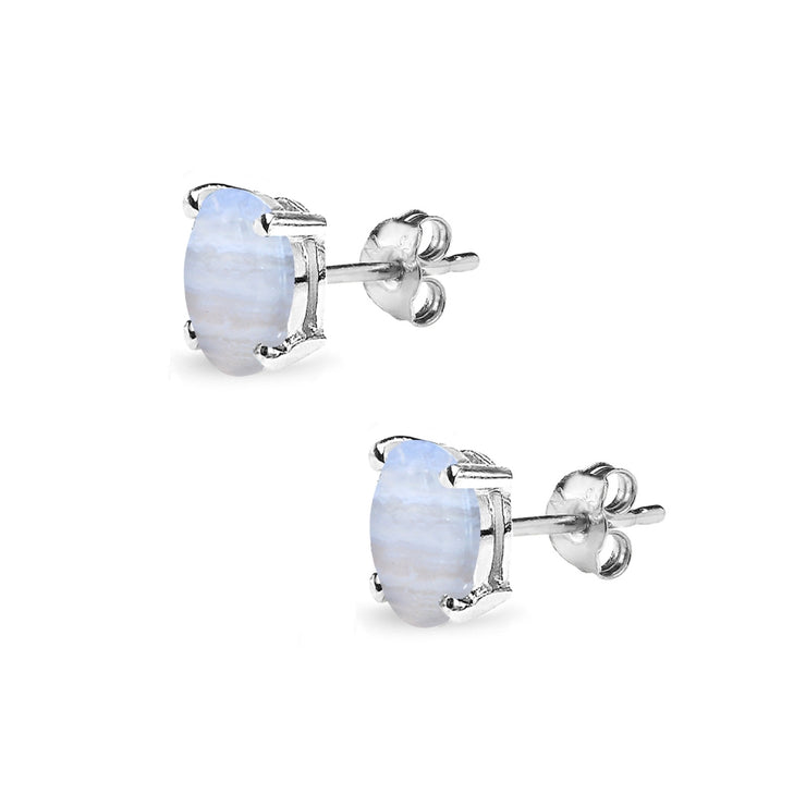 Sterling Silver Lace Agate 6x4mm Oval-Cut Solitaire Stud Earrings