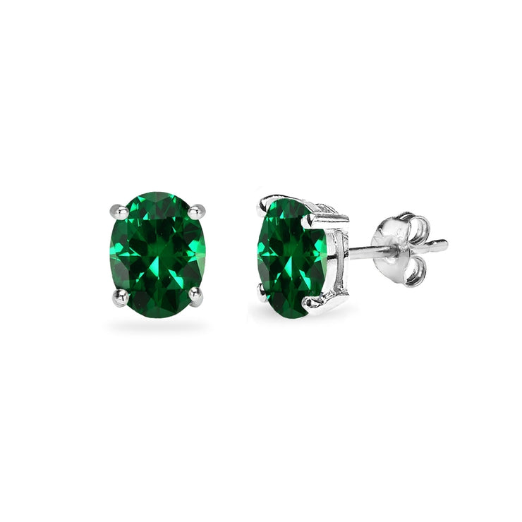 Sterling Silver Created Emerald 6x4mm Oval-Cut Solitaire Stud Earrings