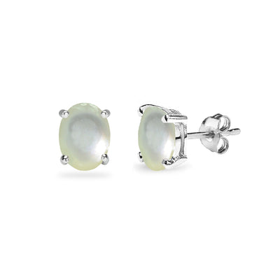 Sterling Silver Simulated Mother of Pearl Oval 6x4mm Prong-set Stud Earrings