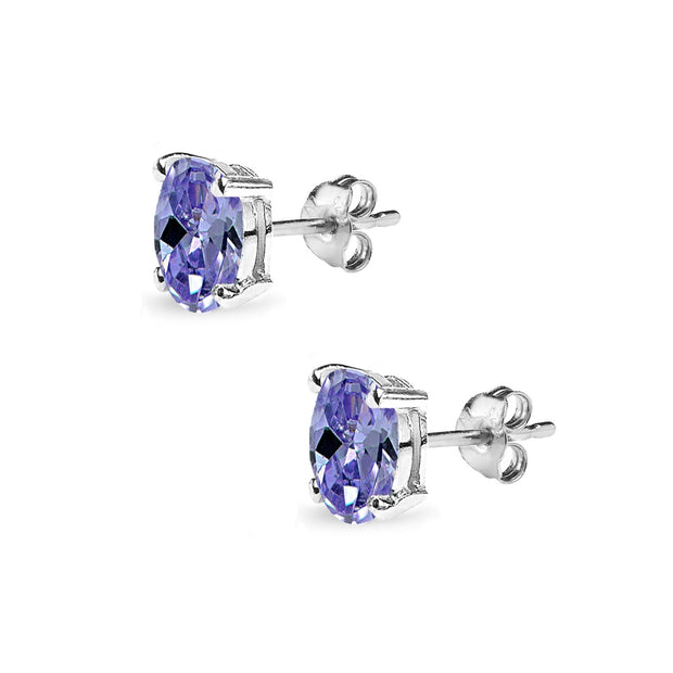 Sterling Silver Simulated Tanzanite 6x4mm Oval Solitaire Dainty Stud Earrings