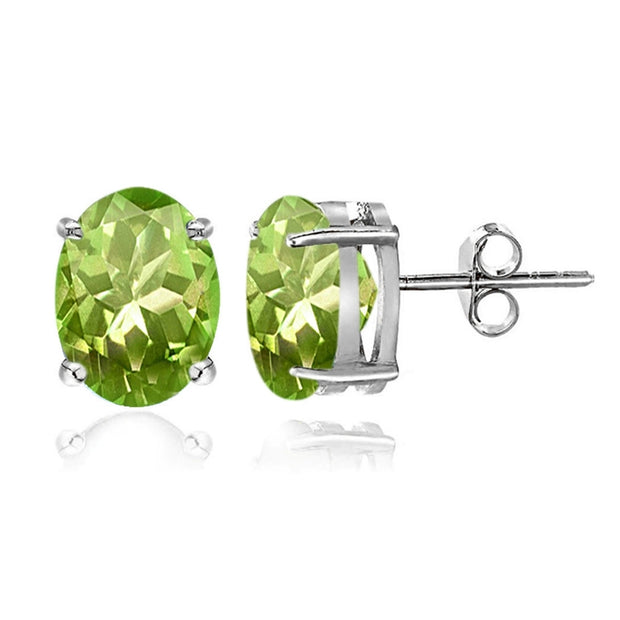 Sterling Silver Peridot 6x4mm Oval Stud Earrings