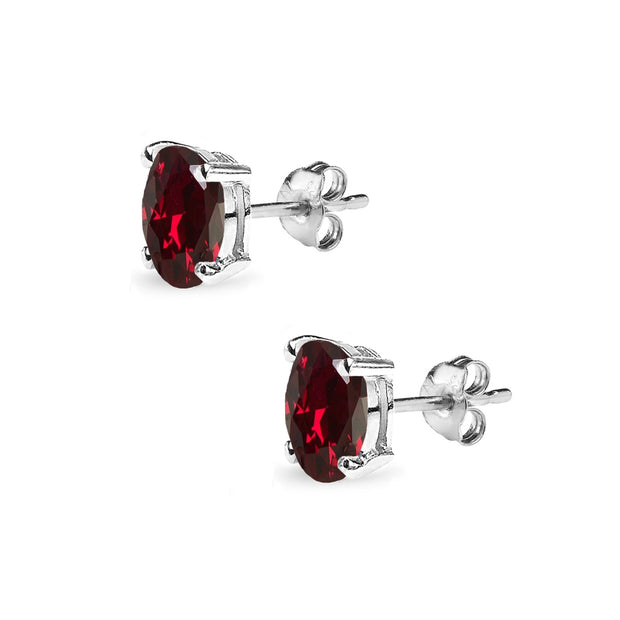 Sterling Silver Created Ruby 6x4mm Oval-Cut Solitaire Stud Earrings