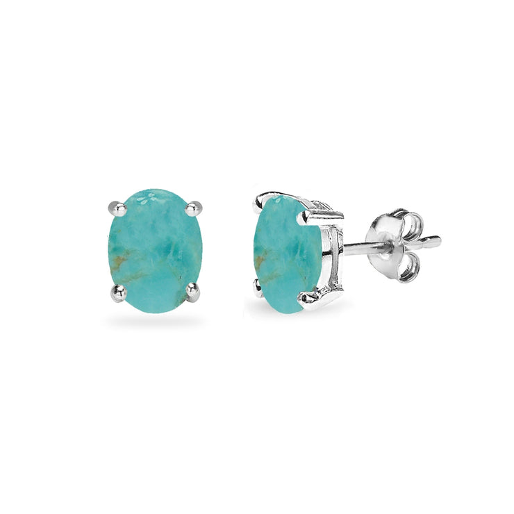 Sterling Silver Created Turquoise Oval 6x4mm Prong-set Stud Earrings