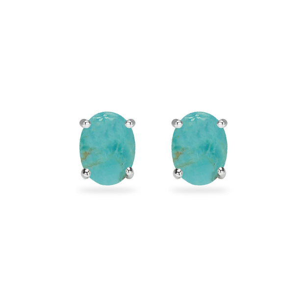 Sterling Silver Simulated Turquoise Oval 6x4mm Prong-set Stud Earrings