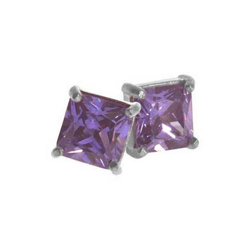 Sterling Silver Amethyst CZ Square 5mm Stud Earrings