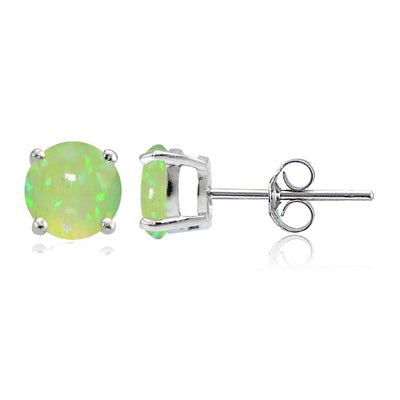 Sterling Silver Created Green Opal 6mm Round Stud Earrings