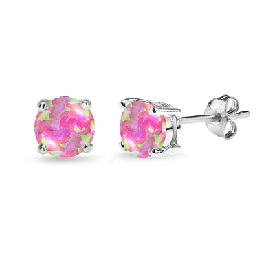 Sterling Silver Simulated Pink Opal 6mm Round Stud Earrings