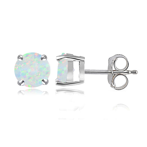 Sterling Silver Simulated White Opal 6mm Round Stud Earrings