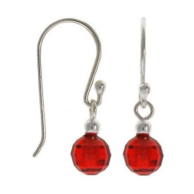 Sterling Silver Red CZ Ball Dangle Earrings