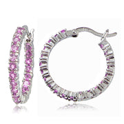 Sterling Silver Light Pink Cubic Zirconia 3mm Round Hoop Earrings, 20mm