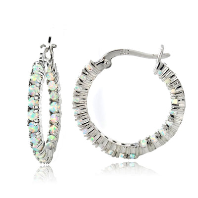 Sterling Silver White Opal Inside Out Hoop Earrings